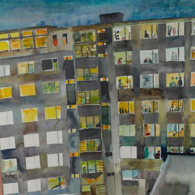 Wohnblock bei Nacht / Block of flats at night
