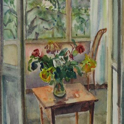 Blumen auf der Veranda/Flowers on the porch ca. 1952 30x47 Aquarelle