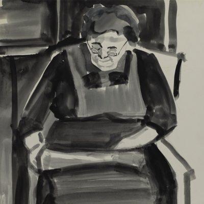 Oma / Grandma ca. 1953 26x42 Aquarelle