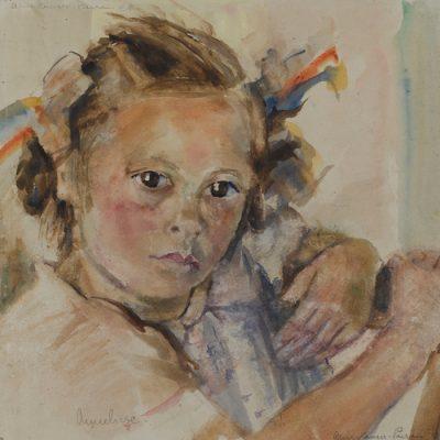 Mädchenportrait von Anneliese / Girl portrait of Anneliese, 1947 36x33 Aquarelle