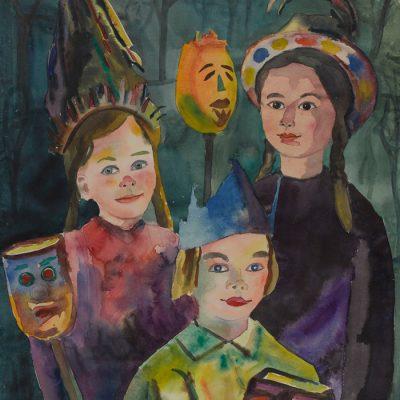Kinder mit beleuchteten Runkelrüben / Children with lighted beets ca. 1949 48x61 Aquarelle