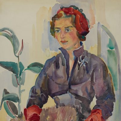 Dame mit roten Handschuhen / Lady with red gloves ca. 1954 54x72 Aquarelle