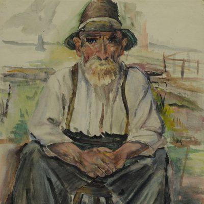 Bauernopa / Peasant grandpa 1947 47x62 Aquarelle