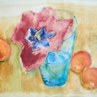 Blaue Vase mit Klatschmohn/Blue Vase with Corn Poppy, Aquarelle, size? 1970s?